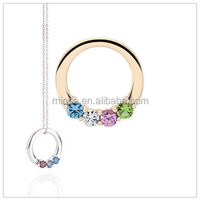 10kt gold circle mothers necklace with genuine faceted birthstones. Classy mothers jewelry.