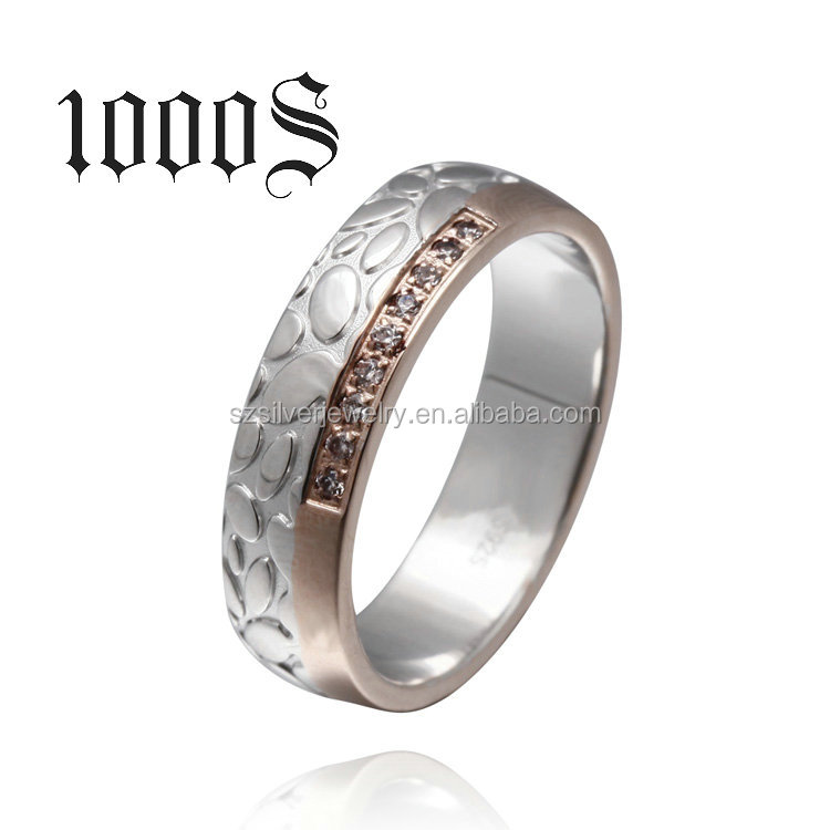 925 Silver Couple Ring Sterling Silver Band Engagement Ring 2 Layer Plating China Factory