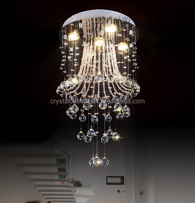 Siljoy Modern LED Rain Drop Crystal Chandelier Lighting for Foyer
