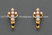 Gold Tops (Ear Rings) studded with CZ (American Diamond)