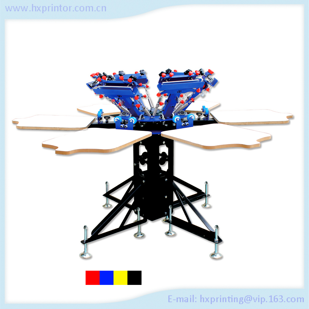 6 colors manual t-shirts screen printing machine Non-woven fabric printing machine