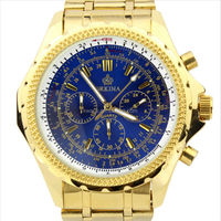 Gold Colour Men's JS20 Quartz Movement Dial Chronograph Stainless Steel Wrist Watch Mens Large Dial