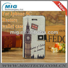 For iphone 5C Restore wallet leather case, mobile phone case for iphone 5C