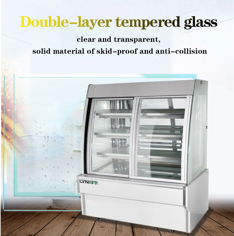 LVNI stylish openable front rear glass door display pastry cake bakery chiller showcase