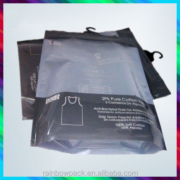 Reclosable Plastic Hanging Hook Poly Bags With Zipper For Pants Packaging