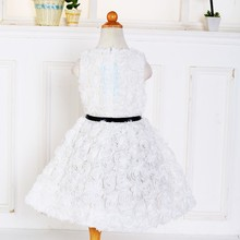 Boutique girls frocks plain white baby design old fashion simple alegant dress for baby girl D-003