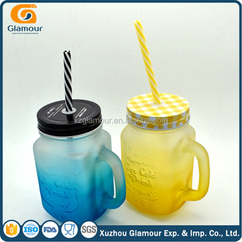 Frosted glass drinking mason jar with handle