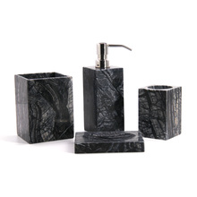 Black Marble 4 Pieces Bathroom Accessory Set