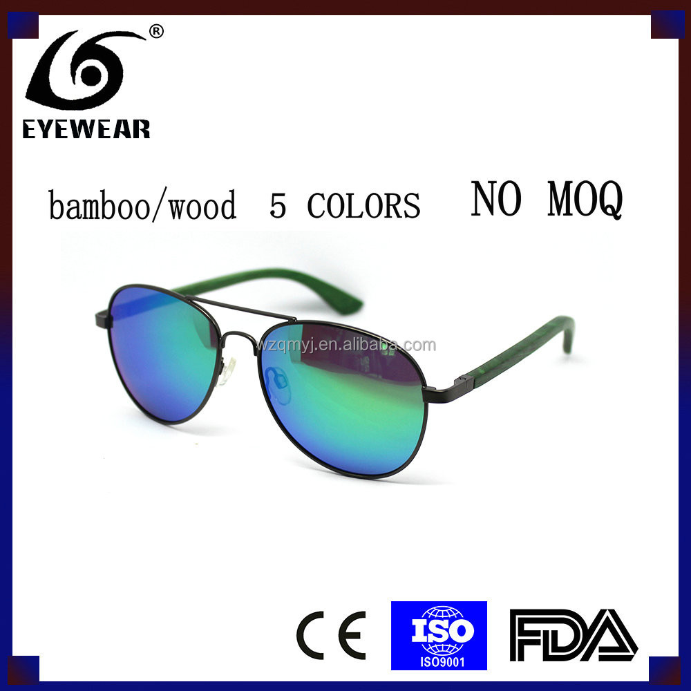 2016 New Arrival Fashion High Quality Metal Bamboo Wood Pilot Polarized Man Women Sunglasses Gafas De Sol