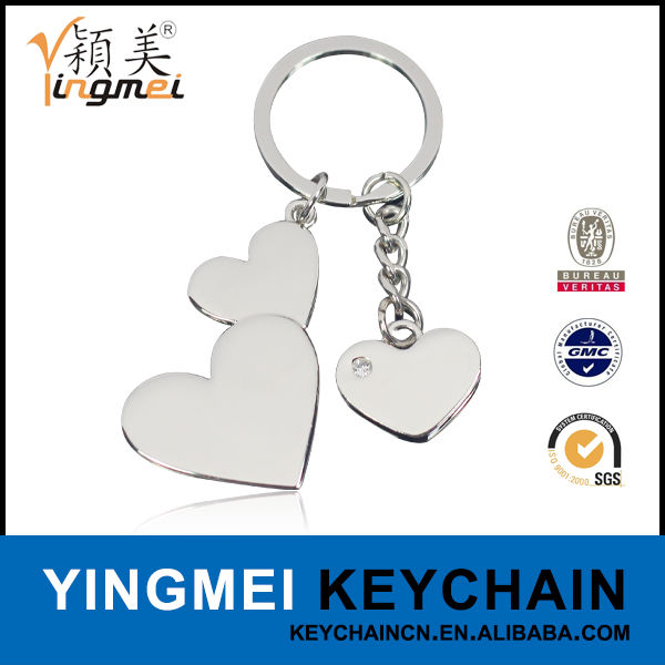 Free sample heart shape metal wedding souvenirs keychain gifts