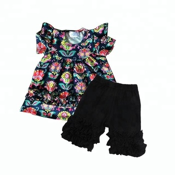 Kids Floral print tunic and black ruffle pants wholesale clothing sets