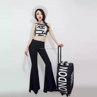 Guangzhou clothing wholesale fashion high waist flare black bodycon women office pants suit