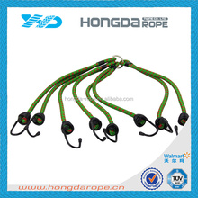 polyester cover rubber core elastic rope with metal hooks exercise elastic rope