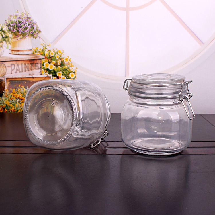 813ml 855ml 1088ml glass jar with clip glass lid for jam and honey storage