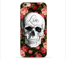 New Europe Creative Skull Painted tpu Mobile Phone Back Cover Case For iPhone5 / 6 / 6plus