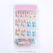 Nadeco glitter nails artificial nail decorated package with nail file, sticker and 2g nial glue