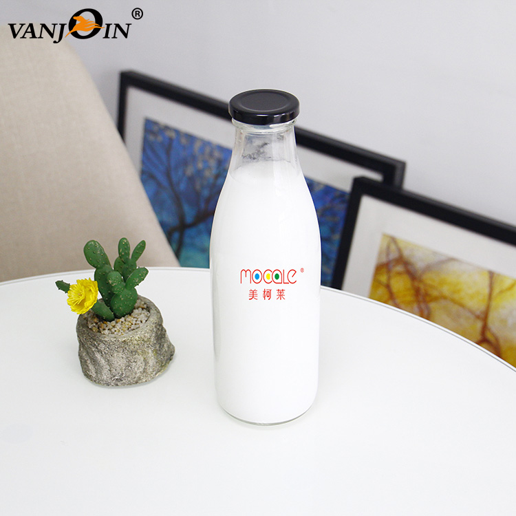 Promotional Half Gallon 1 Liter Clear Fresh Juice Beverage Organic Milk Glass Bottles With Twist-Off Cap For Home Container