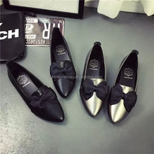 MN16112413 lady shoe flat pointed toe ballerinas loafer shoe bowknot shoe