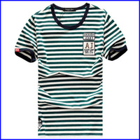 fashion design new design two color t shirts of boys wholesale striped color change t-shirt