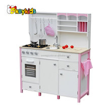 wholesale new luxurious girls pretend play toys wooden pink toy kitchen W10C281