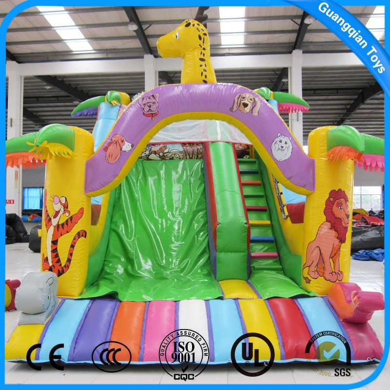 Outdoor Games Giraffe Giant Inflatable Jumping Slide for Kids