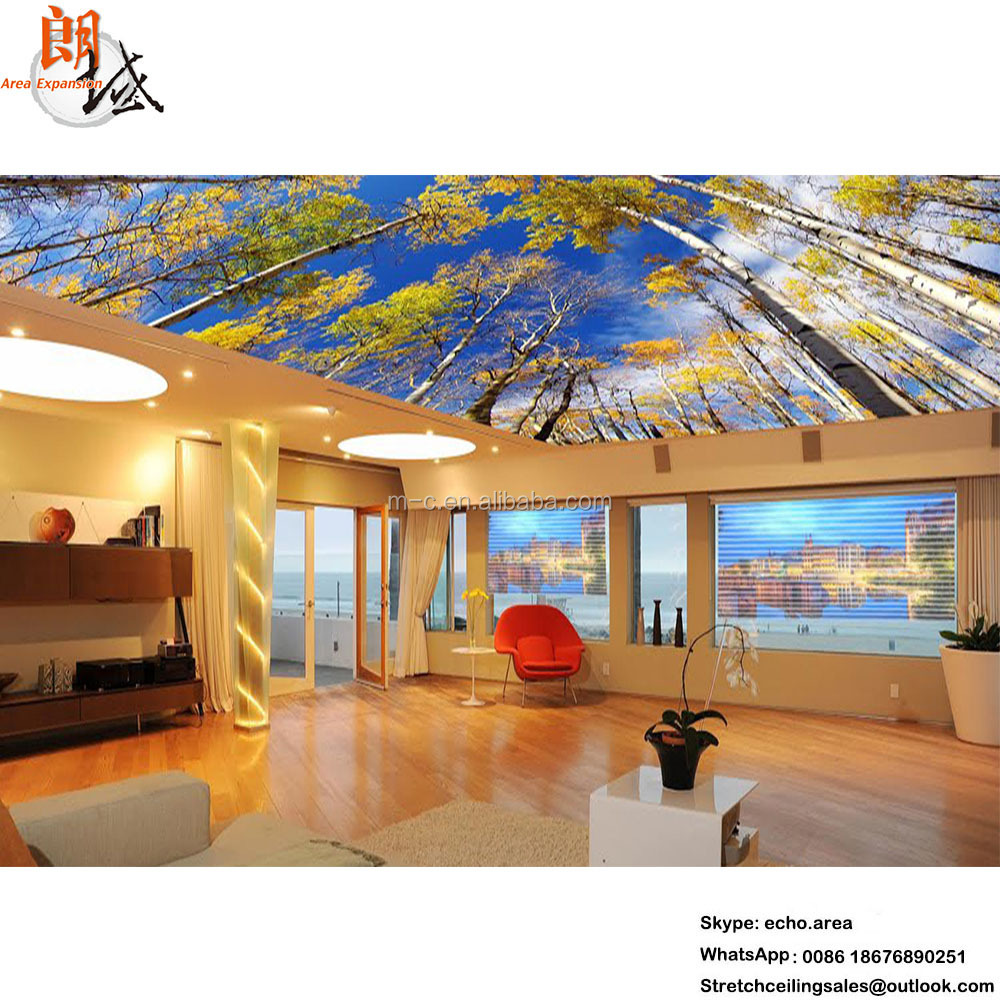 The Most Popular Ink and UV oil printing thin plastic pvc stretch ceiling film for ceiling decor customized building materials