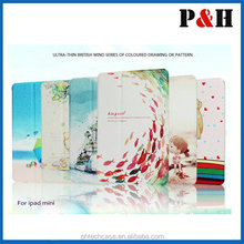 Colored Drawing Leather Case For iPad Mini,Premium Leather Cover For Apple iPad Mini
