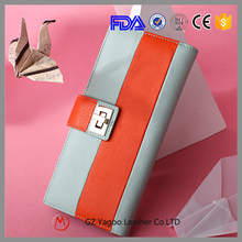 Contrast color low price ladies leather hand made women wallet / ladies purse