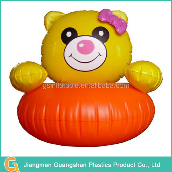 Custom lovely plastic inflatable bear chair for girls
