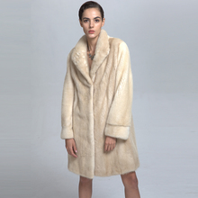 Luxury Low Price Long Style Warm Mink Fur Coat for Girls