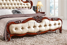 antique mohogany brown solid wood European stywood European style carved classic bedroom royal traditional villa