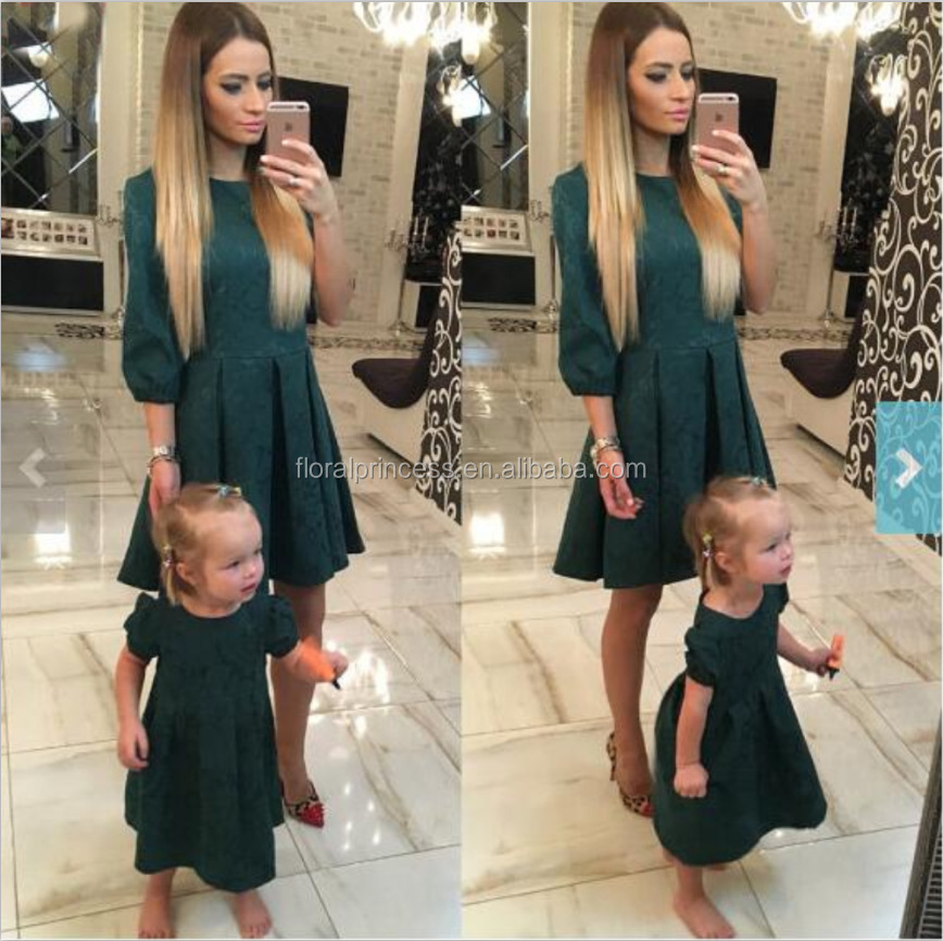Mom And Me Deep Green Dress Mother Daughter Dresses Family Look 2017 Prom Princess Matching Mother Daughter Clothes