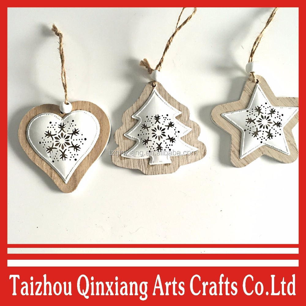 Hanging Mini tree/heart/ star shape Wood Crafts Christmas decorative ornaments