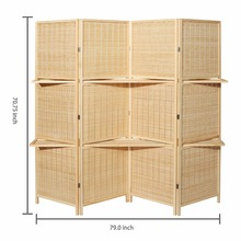 Beige Natural Woven Design Bamboo Portable 4 Panel Folding Room Divider