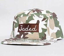 cheap camouflage kids 5 panel snapback cap/hat