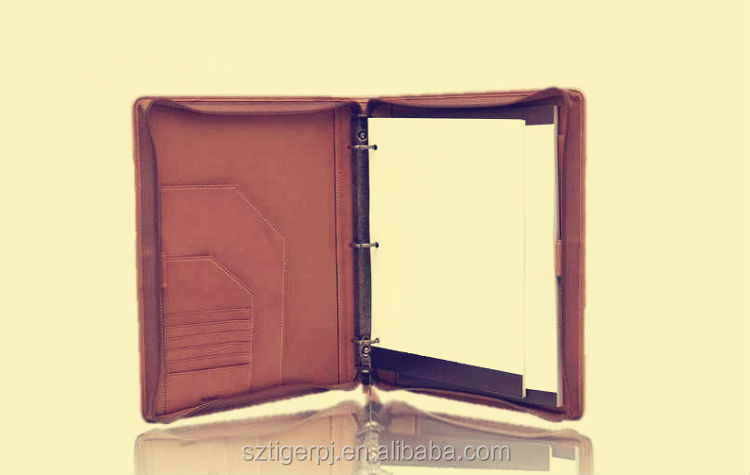 A4 Leather Business Conference Zipper Portfolio Folders
