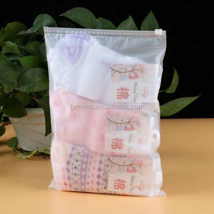 custom EVA zipper transparent double sides frosted bag clothes packaging white zip seal bag