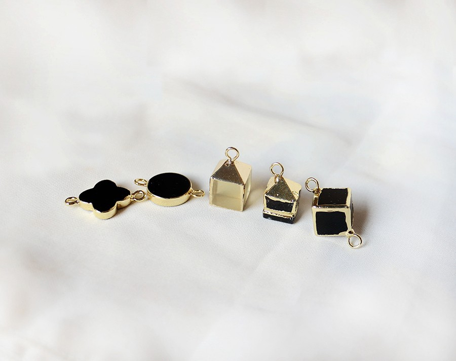 Fashion Earring Findings, Gold-Plated Metal Earring Connector, PTC-A015