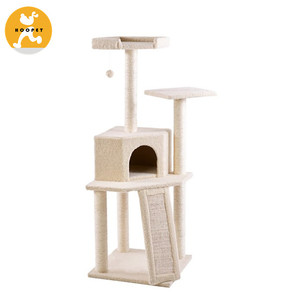 Factory Wholesale Pet product/Small size cat tree for kitty 52-Inch Cream