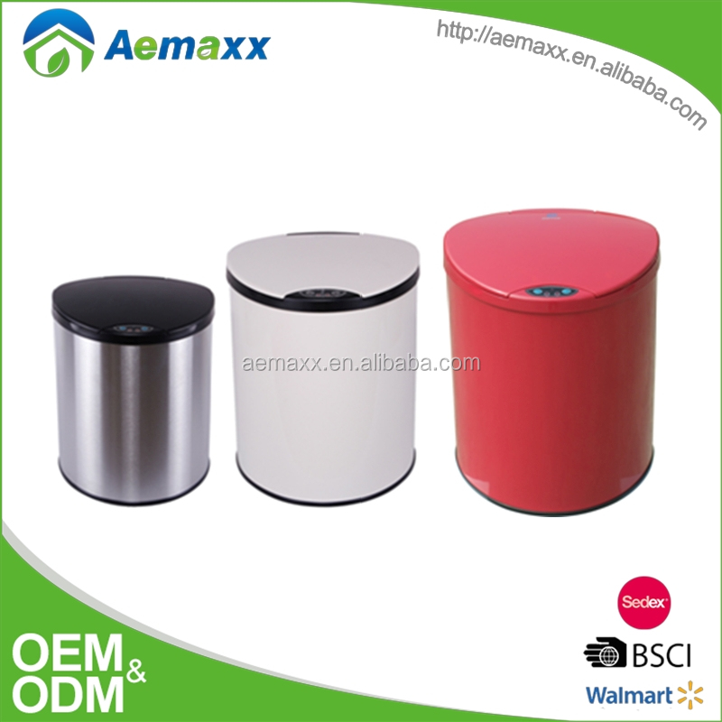 High class promotional sensor bin different size smart bin round automatic trash bin stainless steel electronic sensor garbage