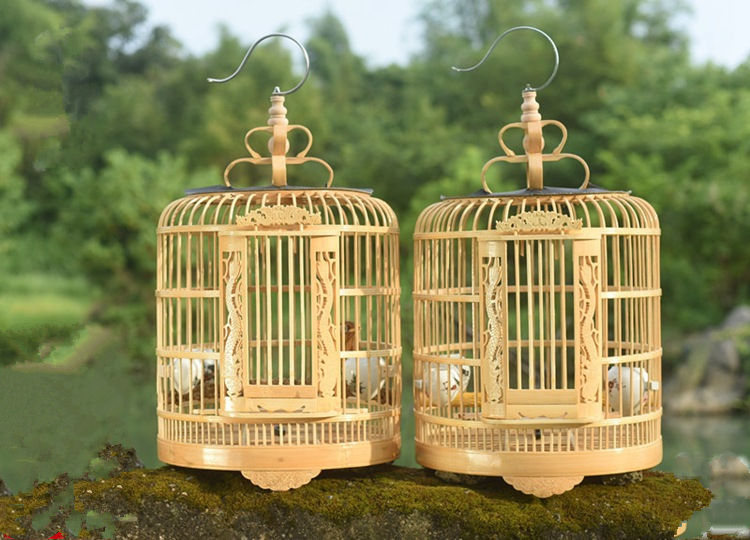 Wholesale wood carving handmade wooden bamboo bird cage