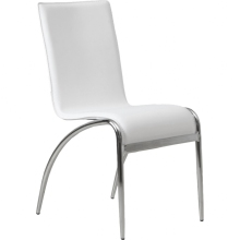 Wholesale L shape chromed legs pu leather dining chair