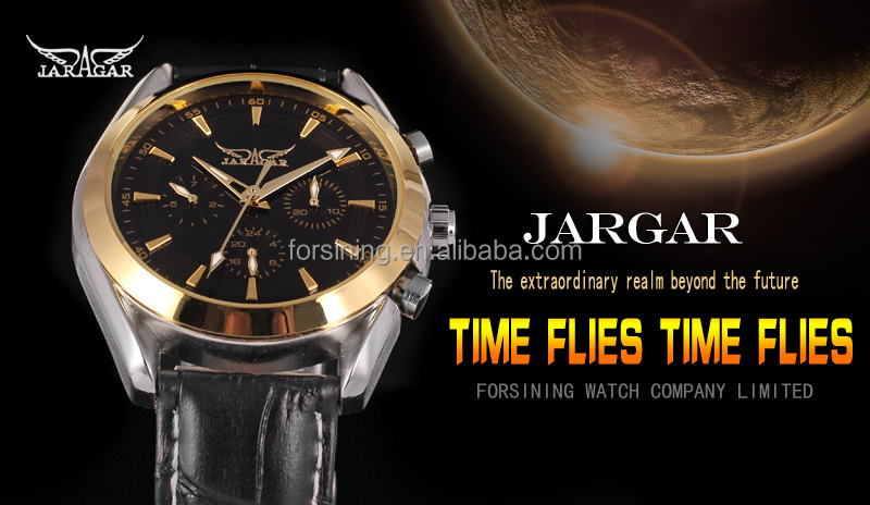 2017 Jargar new products black dial index own brand automatical watch genuine leather mechanical watch wholesale