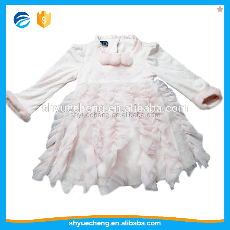 Hot Style Christmas Polyester Beaded Pink Baby Party Wear Girls' Dresses
