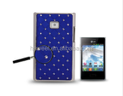 Luxury Bling Diamond Plating Skinning Plastic Case for LG Optimus L3 / for E400