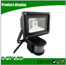 110V 10W PIR Motion Sensor LED Flood light, Warm White Waterproof Security led spotlight Black Case, 60W Halogen Lights Equivale