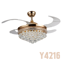 Luxury Crystal Light Contemporary Ceiling Fan Manufacturing