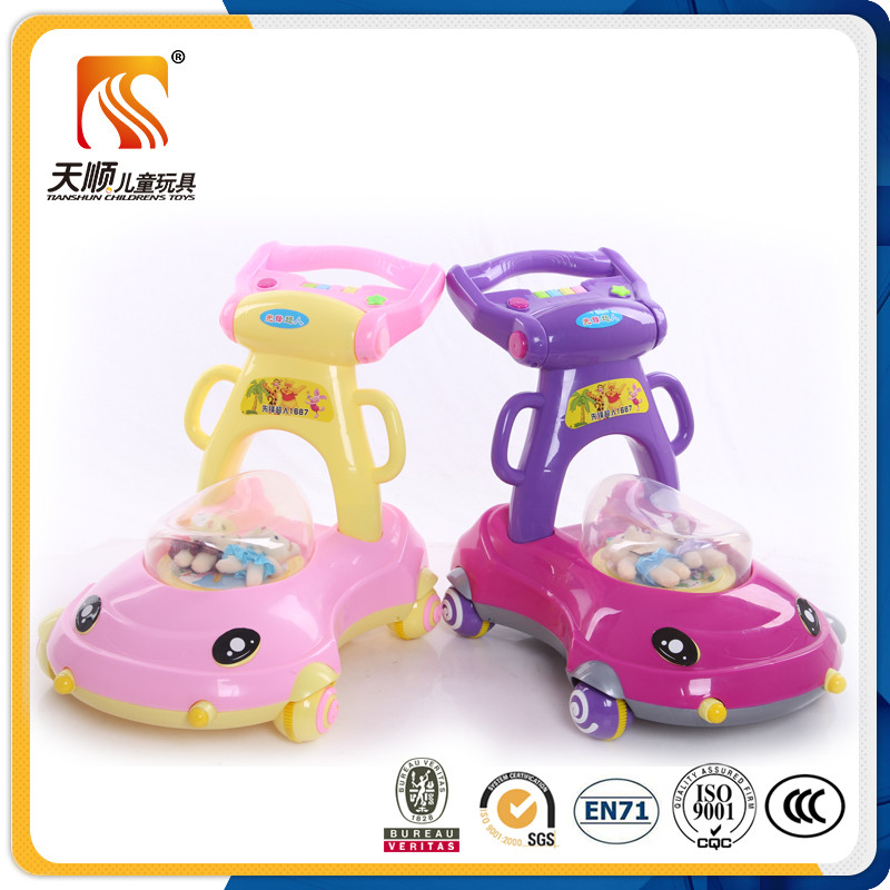 Plastic seat four wheels cartoon bear toy design custom baby walker import from China
