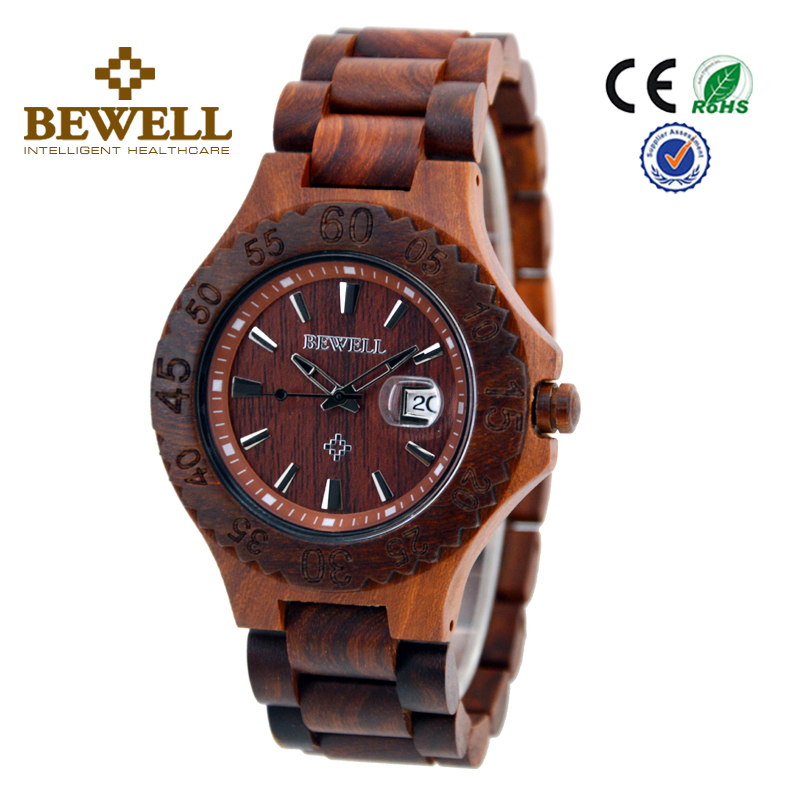 2017 Hot Seller Wrist Watch with Lighter Super Thin Design Eco-Friendly Import Red Sander Wooden Watch With Origianl Battery