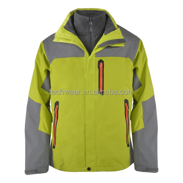 100% polyester double layer hoody outer jacket